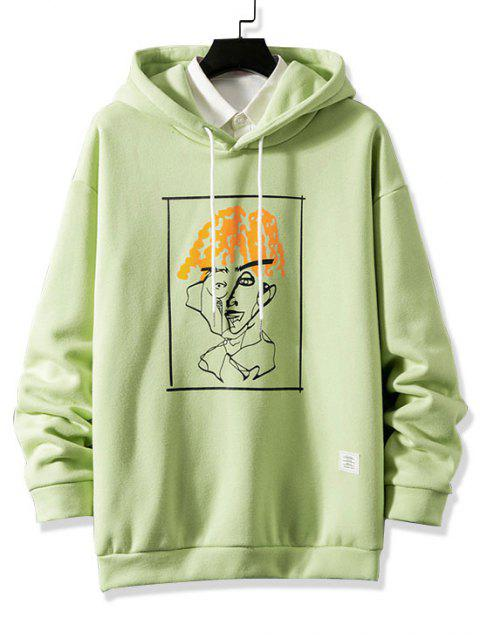 fashion Funny Pattern Graphic Print Drawstring Fleece Hoodie - GREEN 3XL Mobile