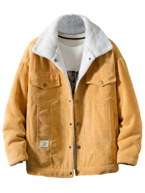 shop Chest Pocket Faux Fur Fluffy Casual Cord Jacket - YELLOW L Mobile