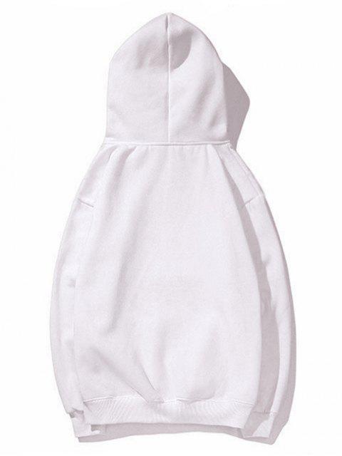 Bolsillo de canguro con capucha impresa letra del lazo - Blanco 2XL Mobile