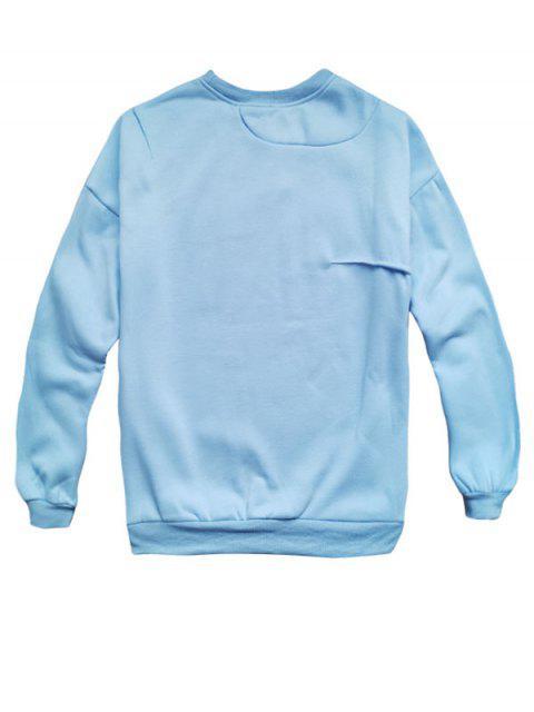 Gato divertido y pescado impresión de goteo hombro Fleece con capucha - Azul 2XL Mobile