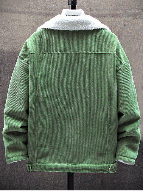 Chaqueta Casual con Bolsillos de Pecho de Piel Sintética - Verde S Mobile