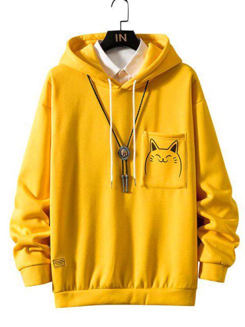 Gato divertido de la historieta de impresión de bolsillo Fleece con capucha - Amarillo 2XL Mobile