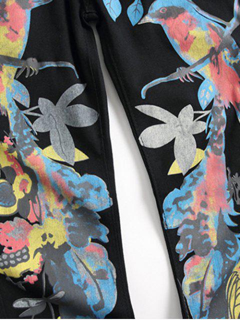 Las aves de estilo chino Imprimir Lápiz Pantalones vaqueros - Negro 34 Mobile