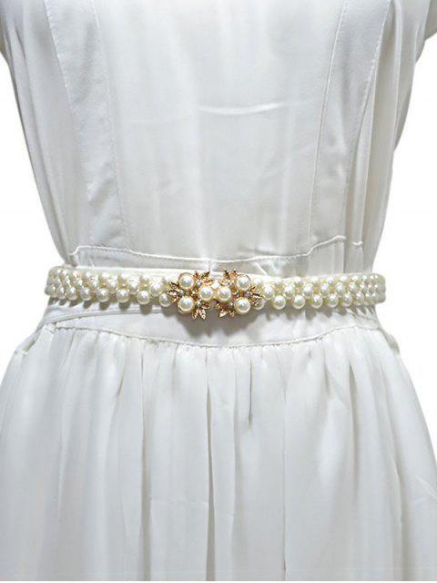Лист Искусственный жемчуг Эластичный Пояс Для платья - Кристаллический крем  Mobile