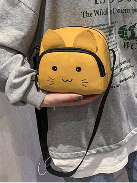 Dibujos animados del gato de la lona del bolso de Crossbody - Amarilla de Abeja   Mobile