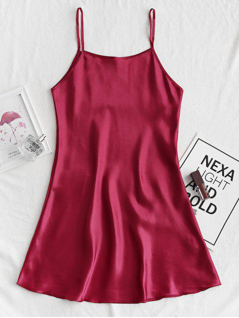 fashion Silky Cami Mini Pajama Dress - RED WINE XS Mobile