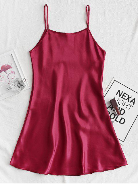 affordable Silky Cami Mini Pajama Dress - RED WINE M Mobile