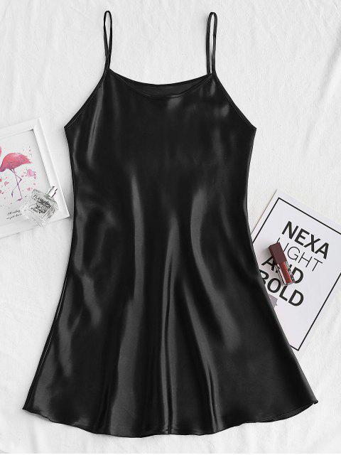 Mini Vestido de Pijama con Tirantes Finos - Negro S Mobile