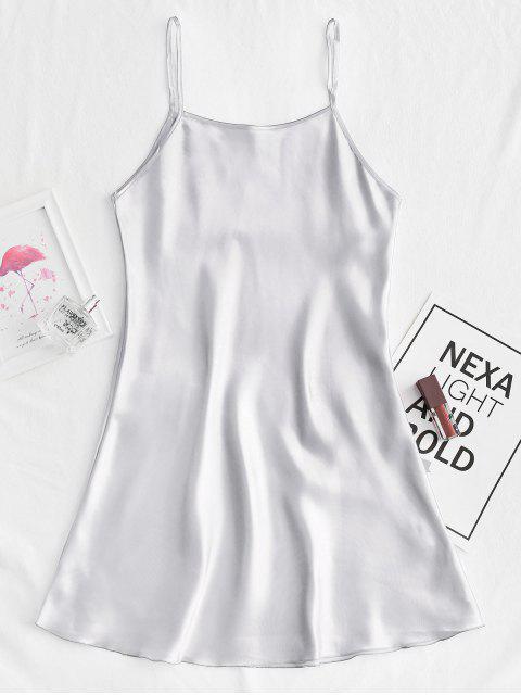 fancy Silky Cami Mini Pajama Dress - SILVER S Mobile