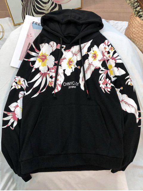 Impresa flor de bolsillo con capucha informal - Negro 3XL Mobile