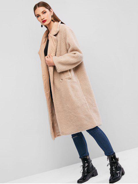 online ZAFUL X Luna Montana Faux Shearling Pocket Longline Fluffy Teddy Coat - TAN ONE SIZE Mobile