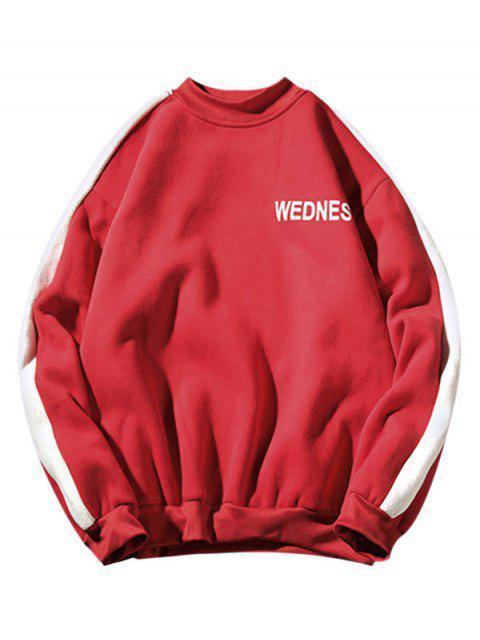Impresión de la letra de Colorblock empalmado Fleece con capucha - Rojo Lava S Mobile