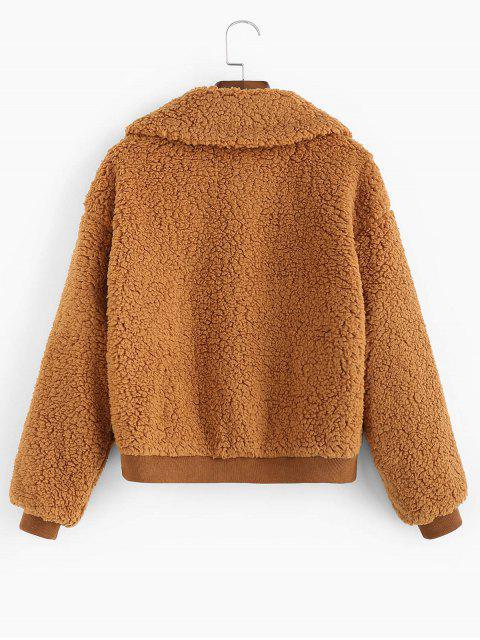 women ZAFUL X Luna Montana Drop Shoulder Zip Pocket Fluffy Teddy Jacket - BROWN M Mobile