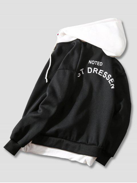 El bloqueo de color impresa letra informal con capucha - Negro M Mobile