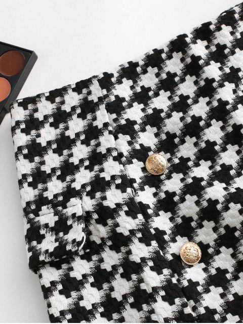 buy Puzzle Graphic Buttons Faux Pockets Skirt - BLACK L Mobile