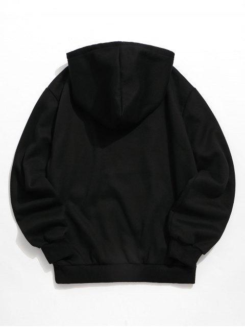 圖文貓印花袋鼠口袋連帽衫 - 黑色 2XL Mobile
