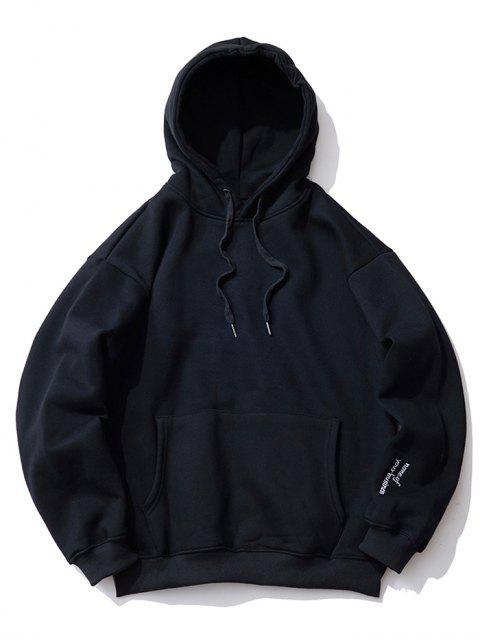 Bestickter Detail Drop Schulter Vlies Hoodie - Schwarz XL Mobile
