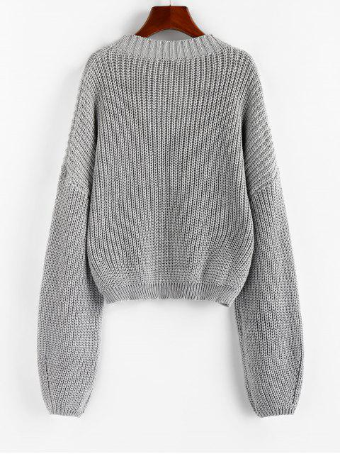affordable ZAFUL Lantern Sleeve Chunky Sweater - GRAY GOOSE M Mobile