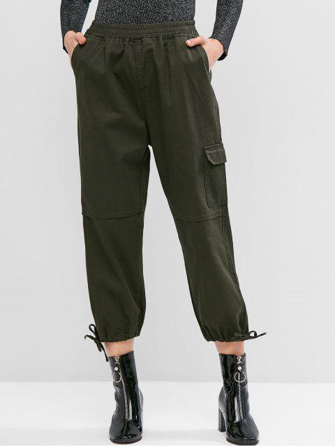 口袋袖口抽繩休閒褲慢跑者 - 軍綠色 M Mobile
