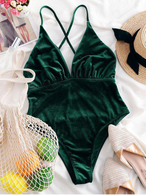 latest ZAFUL Criss Cross Corduroy One-piece Swimsuit - DEEP GREEN XL Mobile