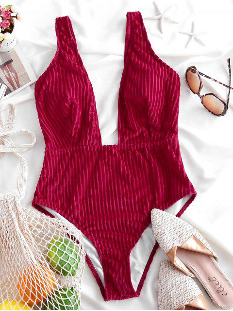 womens ZAFUL Ribbed Plunge Velvet One-piece Swimsuit - LAVA RED M Mobile