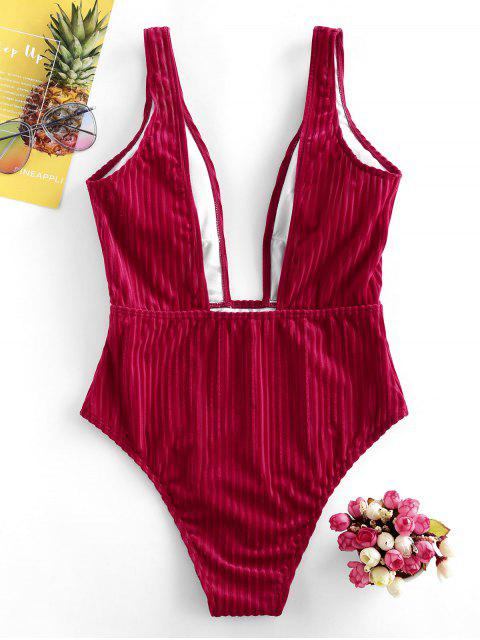 lady ZAFUL Ribbed Plunge Velvet One-piece Swimsuit - LAVA RED S Mobile