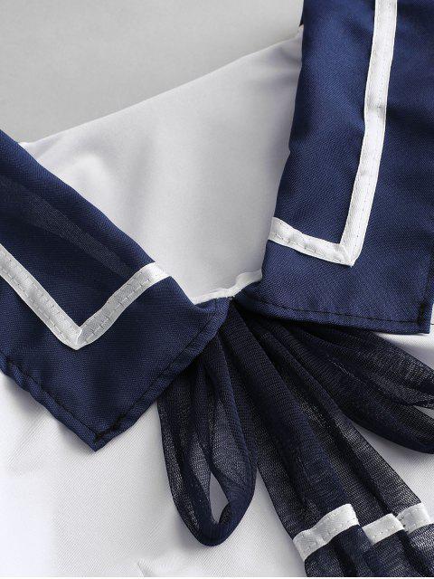 Gestreifte Bowknot dekoriert formale Unterwäsche Kostüm - Tiefes Blau Eine Größe Mobile
