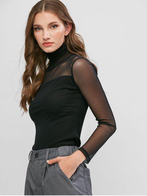 women Mesh See Thru Turtleneck Slim Tee - BLACK L Mobile