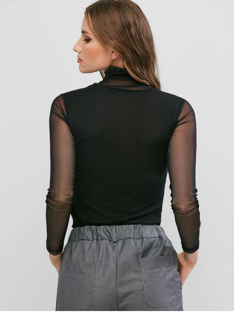 sale Mesh See Thru Turtleneck Slim Tee - BLACK XL Mobile