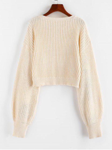 ZAFUL Laterne Ärmel Einfacher Pullover - Cornsilch S Mobile