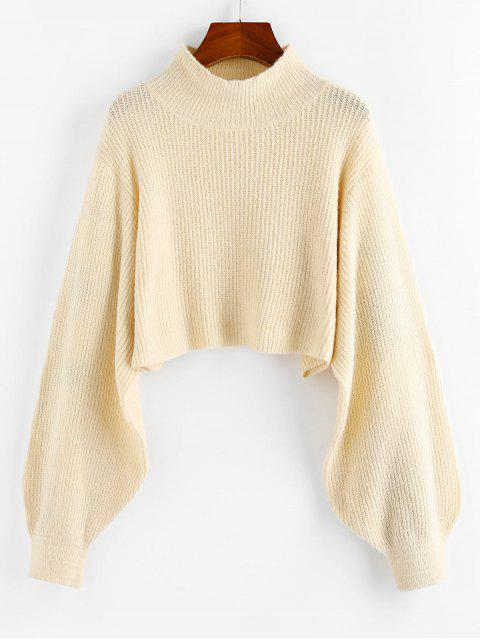 ZAFUL Crop Pullover mit Laterne Hülsen - Warmweiß M Mobile