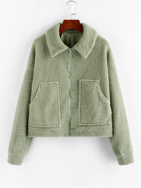 ZAFUL落肩口袋拉鍊外套泰迪 - 淺綠色 XL Mobile