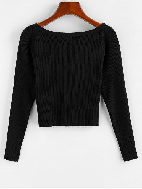 lady ZAFUL Ribbed Mock Buttons T Shirt - BLACK L Mobile