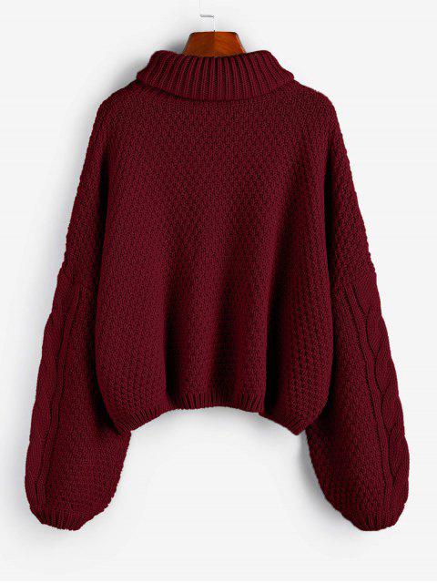 new ZAFUL X Luna Montana Drop Shoulder Cable Knit Turtleneck Sweater - RED WINE L Mobile