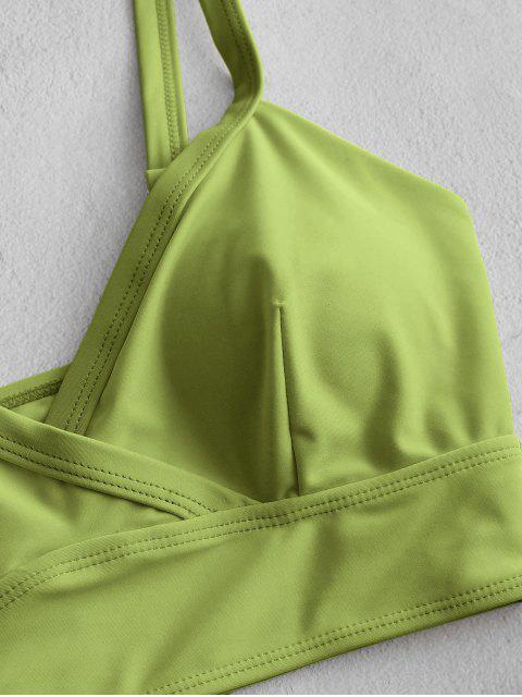 Tankini con Estampado Floral con Abertura Alta ZAFUL - Verde claro L Mobile