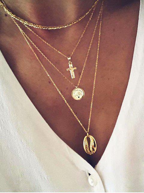Многослойное Ожерелье Подвеска креста Раковина - Золотой  Mobile