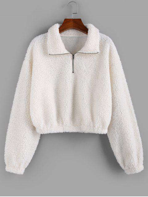 ZAFUL Sweat-shirt Demi-Zip à Goutte Epaule - Blanc M Mobile
