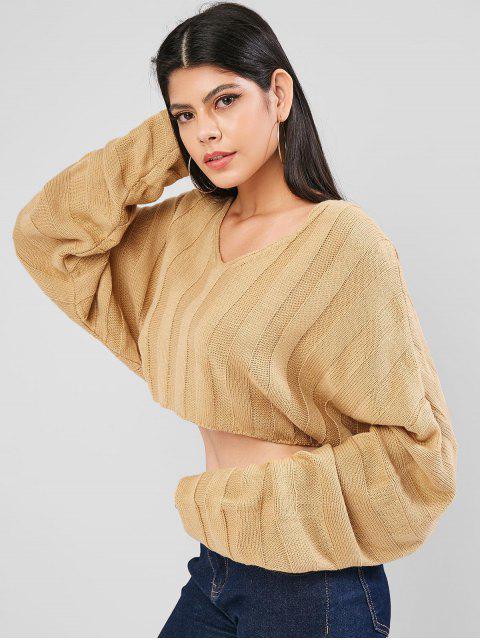 chic ZAFUL V Neck Dolman Sleeves Crop Sweater - KHAKI L Mobile