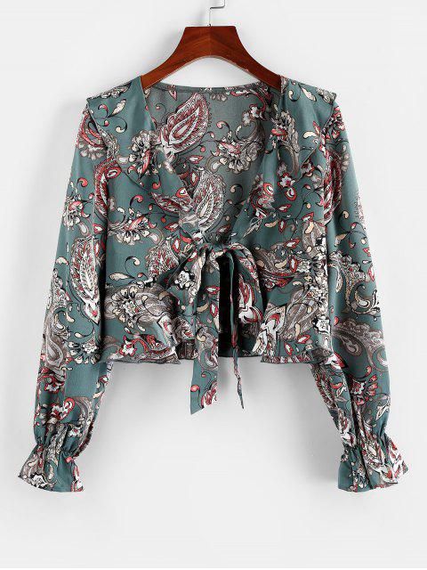 latest ZAFUL Flower Tied Poet Sleeve Plunging Crop Blouse - SEA GREEN S Mobile