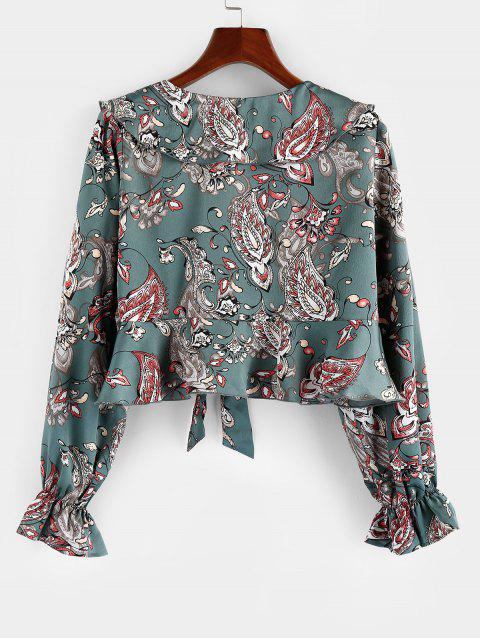 chic ZAFUL Flower Tied Poet Sleeve Plunging Crop Blouse - SEA GREEN M Mobile