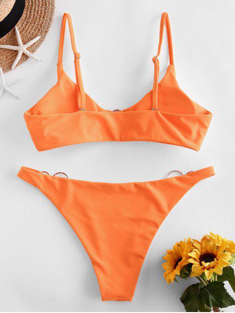 ZAFUL O Ring Neon Bikini Badebekleidung mit Zwei Trägern - Dunkles Orange M Mobile
