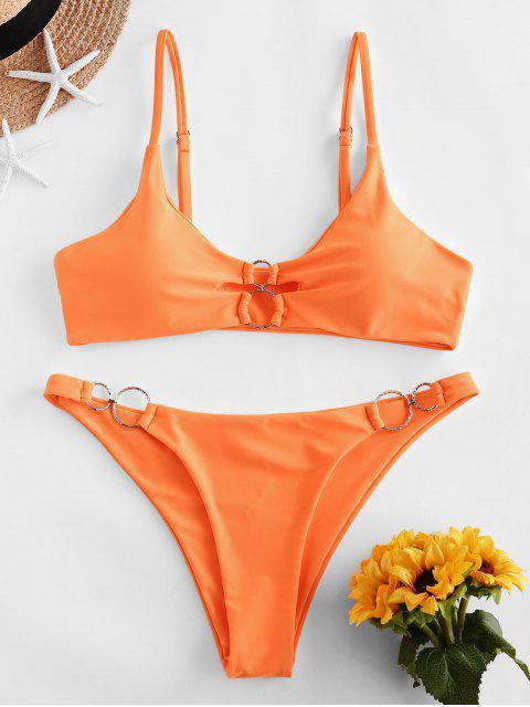 chic ZAFUL Dual O-ring Neon Bikini Swimsuit - DARK ORANGE M Mobile