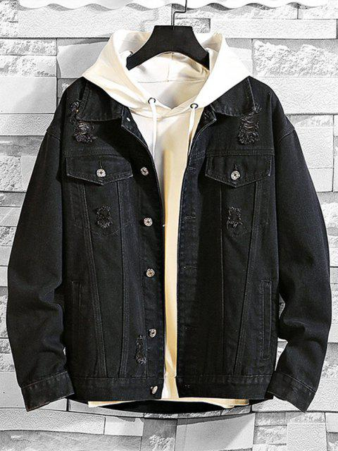 best Casual Destroy Wash Ripped Denim Jacket - BLACK M Mobile