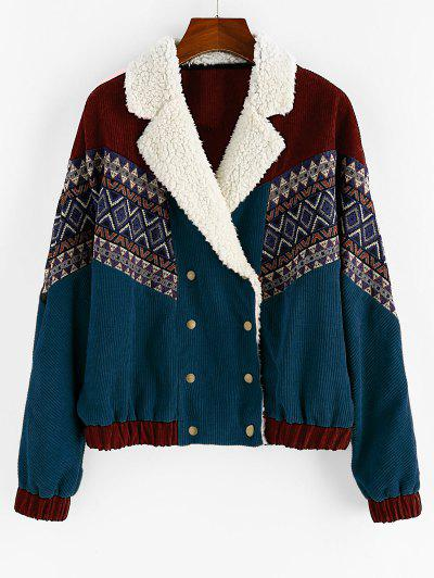 ZAFUL Double Breasted Tribal Print Faux Shearling Collar Corduroy Jacket - Peacock Blue L