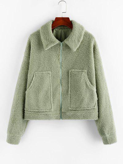ZAFUL Drop Shoulder Pocket Zip Teddy Coat - Light Green Xl