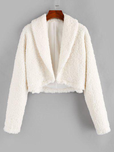 ZAFUL Open Front Faux Fur Coat - Milk White Xl