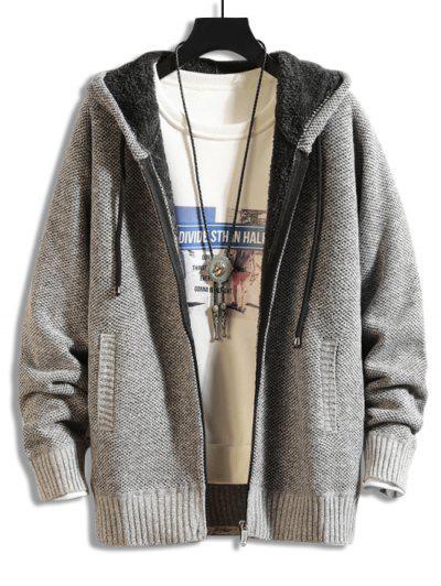 Casual Solid Color Zip Up Cardigan - Gray Cloud S