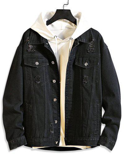 Casual Destroy Wash Ripped Denim Jacket - Black Xs