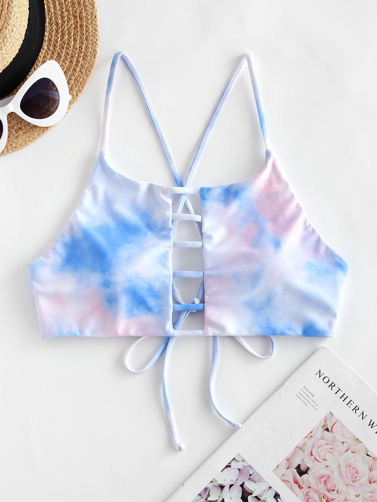 ZAFUL Tie Dye Ladder Cut Crisscross Bikini Top thumbnail