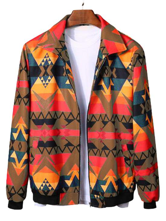 Geometric Graphic Print Rib-knit Trim Jacket фото